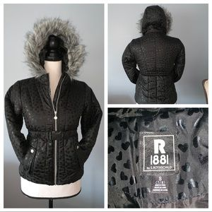 Girls Black Puffer Jacket with Faux Fur Trim